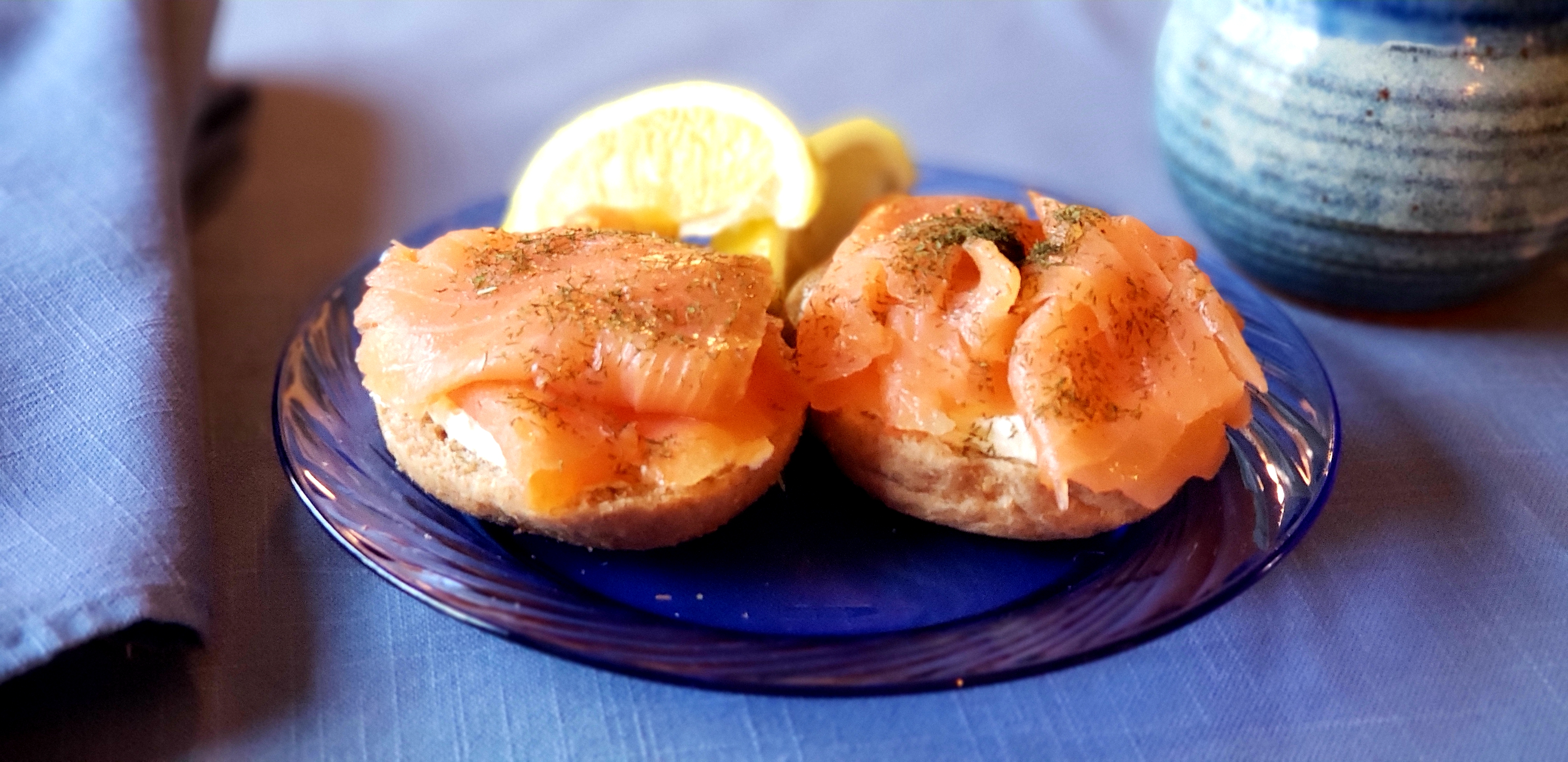 Smoked Salmon & Cream Cheese On Mini Bagel
